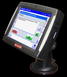Rubicon Touch Bordcomputer mit GPS und GPRS für Ortung, Spurverfolgung, papierlose Auftragsverwaltung und Containererfassung, speziell für Entsorger