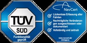 Siegel des TÜV Süd über die Prüfung auf die Einhaltung der Anforderungen des Finanzamtes und dessen Zertifizierung